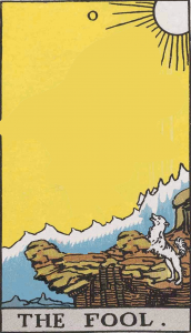 The Fool card without its main character makes a suitable subject or locus.
