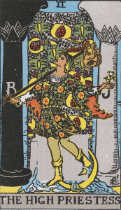 The Fool as an adject to the High Priestess subject highlights a problem with contrast.