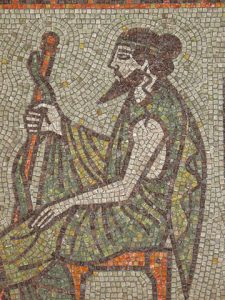 A mosaic of Asclepius courtesy of Wikimedia Commons