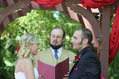 Reverend Erik officiates a wedding