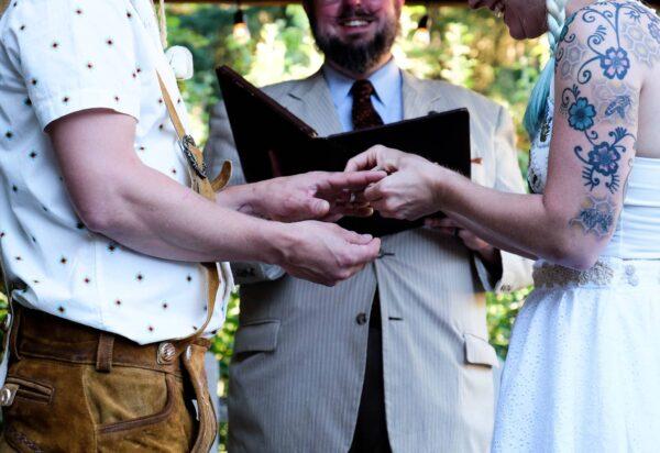 Reverend Erik officiating a wedding