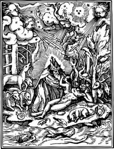 A woodcut with prayer