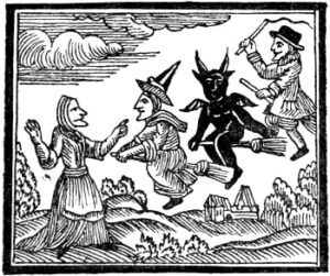 Witches and devils riding brooms