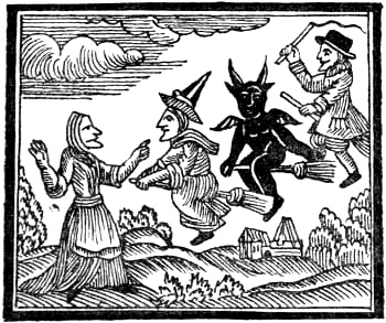 A woodcut print of witches and devils riding brooms