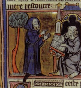 A medieval illustration of Merlin in a robe