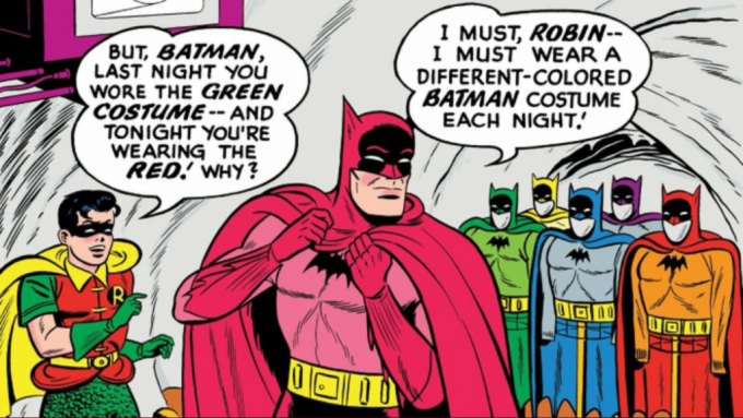 Batman with different colored costumes
