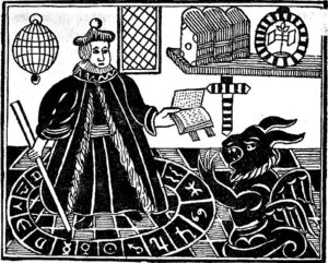 A robed magician conjures a demon.