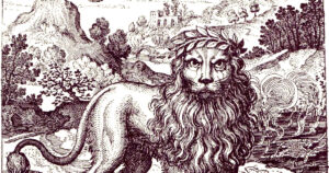 Detail of an engraving of a lion from Atalanta Fugiens