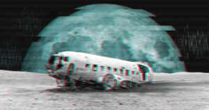 Glitchy photo of a wrecked airplane and the Moon