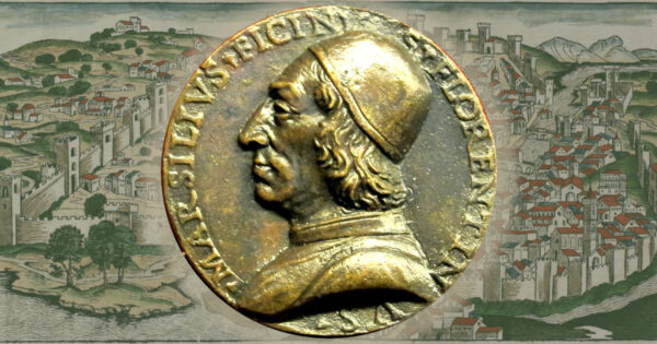 Marsilio Ficino medallion against a woodcut of Florence