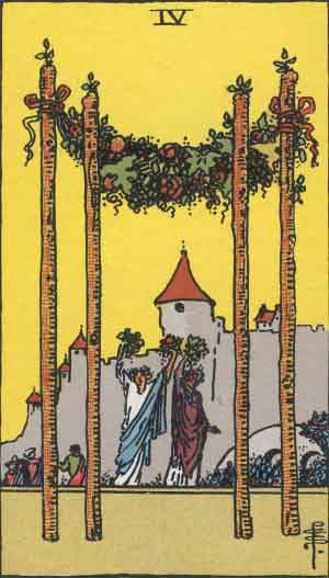 Four of Wands in the Waite-Smith Tarot