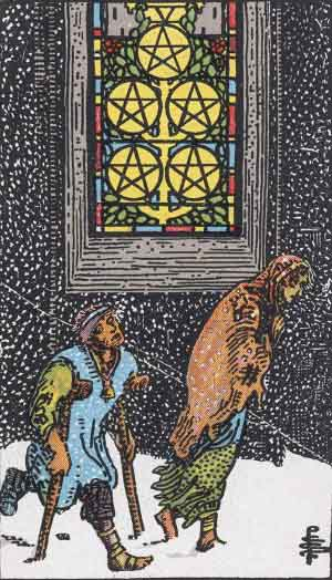 Five of Pentacles in the Rider-Waite-Smith