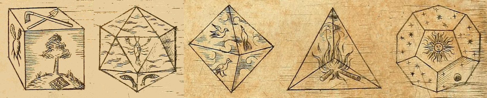 The five Platonic solids.