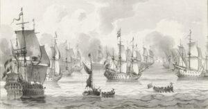 The featured image for this episode is Zeegezicht met oorlogsvloot (1821) by Cornelis Ploos van Amstel. Original from The Rijksmuseum.